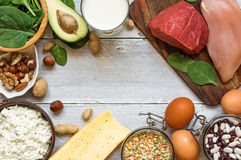 Natural products rich in vitamin B6 and protein Stock Images
