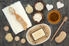 Natural Products for Skin Health Care. Natural products and ingredients for body and skin health care with oats and honey. Used to soothe skin disorders such as Royalty Free Stock Images