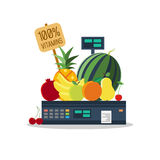 Natural products, vegetables and fruits on scales. Natural products, such as vegetables and fruits on the scales royalty free illustration