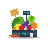 Natural products, vegetables and fruits on scales. Natural products, such as vegetables and fruits on the scales stock illustration