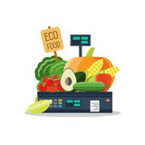 Natural products, vegetables and fruits on scales. Natural products, such as vegetables and fruits on the scales Royalty Free Stock Image