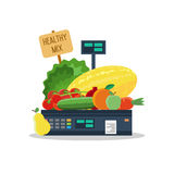 Natural products, vegetables and fruits on scales. Natural products, such as vegetables and fruits on the scales vector illustration