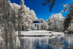 Natural public park in Strasbourg, infrared view, sunny day royalty free stock images