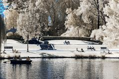 Natural public park in Strasbourg, infrared view, sunny day royalty free stock photos