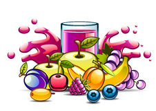 Natural purple juice in glass and fruits. On white background Stock Photo