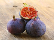Natural purple ripe figs Stock Photos