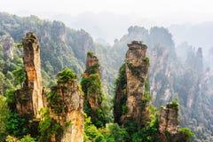Natural quartz sandstone pillars of fantastic shapes, China. Natural quartz sandstone pillars of fantastic shapes Avatar Mountains in the Zhangjiajie National royalty free stock photos