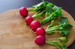 Natural radishes with green leaves. In one row on right side, on wooden background Stock Photo