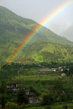 Natural rainbow  after rain in Kangra Valley India Royalty Free Stock Photography