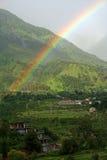 Natural rainbow  after rain in Kangra Valley India. Beautifull spectrum Rainbow in Khaniyara village of Dhauladhar Himalayas  in Kangra Valley India Royalty Free Stock Photography