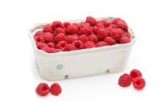 Raspberry berries isolated on white. Natural raspberry berries in box isolated on white background. copy space Stock Photos