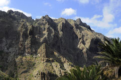 Natural ravine, volcanic cliffs and scarce vegetation in Masca, Tenerife, Canary Islands. Famous Masca gorge, typical mountain landscape in the western part of royalty free stock photos