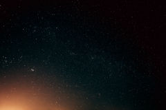Natural Real Night Sky Stars Background Texture. Sunset, Sunrise Over Field stock photo