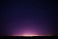Natural Real Night Sky Stars Background Texture. Sunset, Sunrise Over Field Stock Images