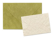Natural recycled nepalese paper envelopes. Isolated on white with clipping path - parchment texture Royalty Free Stock Images
