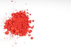 Natural red colored pigment powder. Composition of natural colored pigments in powder form stock image