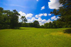 Natural relaxation. Natural landscape and a lot of clouds in the sky Royalty Free Stock Images