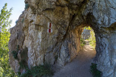 Natural reservation Cheile Nerei, Tunnels section, Romania. Nera river Royalty Free Stock Photography
