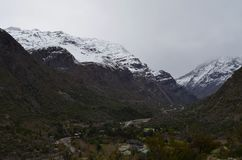 "Río Blanco National Reserve, central Chile, a high biodiversity valley in Los Andes. The natural reserve in Chile they are called ""national reserve royalty free stock photography"