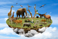 Natural Reserve concept. Floating island in the clouds with animals as symbol of environmental concept Stock Photography