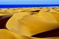 Natural Reserve of Dunes of Maspalomas, in Gran Canaria, Spain. A view of the Natural Reserve of Dunes of Maspalomas, in Gran Canaria, Canary Islands, Spain royalty free stock image