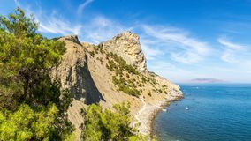 Natural reserve of mount Karaul-Oba, Crimea, city of Sudak, Black sea coast. Nature reserve Karaul-Oba, Crimea Peninsula, Sudak, black sea coast, summer royalty free stock photography
