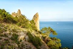 Natural reserve of mount Karaul-Oba, Crimea, city of Sudak, Black sea Stock Images