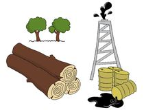 Natural Resources. Image illustrates the natural resources that we could rely on to produce energy, like petroleum and wood. We get wood by cutting trees, and Royalty Free Illustration