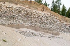 Natural resources in esker. Removal of esker for use as natural resources. Deposits layed down in latest iceage by nature. Naturaly rounded stones and gravel Stock Images