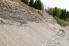 Natural resources in esker. Removal of esker for use as natural resources. Deposits layed down in latest iceage by nature. Naturaly rounded stones and gravel Royalty Free Stock Images