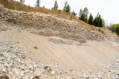 Natural resources in esker. Removal of esker for use as natural resources. Deposits layed down in latest iceage by nature. Naturaly rounded stones and gravel Royalty Free Stock Image