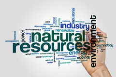 Natural resources word cloud. Concept on grey background royalty free stock photo