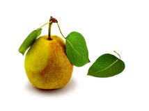 Natural ripe pear and three leafs. Stock Photos
