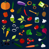 Natural ripe vegetables flat icons Royalty Free Stock Images