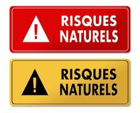 Natural Risks warning panels in French translation. In 2 colors Royalty Free Stock Photo