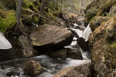 Natural river in wilderness. Photographed in springtime. Some ice is still left on the rocks Royalty Free Stock Image