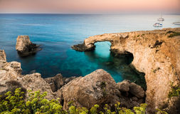 Natural rock arch in Ayia Napa on Cyprus island Stock Images