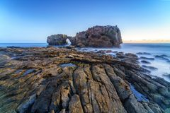 Natural rock arch, cliff and beach. Natural rock arch, cliff and beach in California, USA Royalty Free Stock Photos