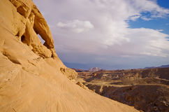 Natural rock arch in the Timna park, Negev desert, Israel Stock Images