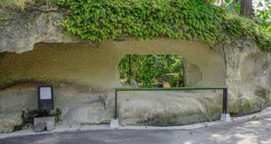 Natural rock arches in Matsushima, Japan royalty free stock photo
