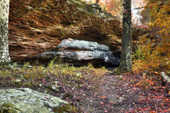 Natural Rock Bridge. A natural rock bridge in the autumn in Arkansas Stock Photo