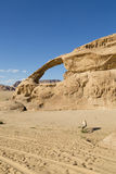 Natural Rock Bridge In Wadi Rum Royalty Free Stock Photography