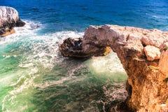 Natural rock bridge near Ayia Napa. Famagusta District. Cyprus Stock Photos