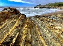 Natural rock formation. At pebble beach at Pescadrro royalty free stock image