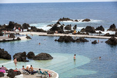 Natural rock pool of Porto Moniz. It is a public bath with water from the Atlantic Ocean Royalty Free Stock Photos