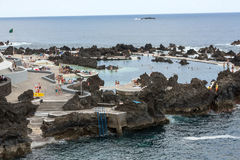 Natural rock pool of Porto Moniz. Stock Photos