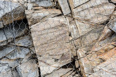 Natural Rock and Protective Mesh. Natural Rock Protection Landslide High Hill Royalty Free Stock Image
