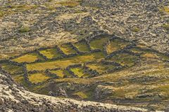 Natural Rock Sheep Pens in rural Mountains. Near Bifrost, Iceland stock image