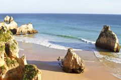 Natural rocks in the Algarve in Portugal Stock Photo