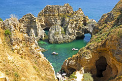 Natural rocks in the Algarve Portugal Stock Photography